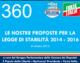 360 – LE NOSTRE PROPOSTE PER LA LEGGE DI STABILITA' 2014 – 2016