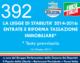 392 – LA LEGGE DI STABILITA' 2014-2016:  ENTRATE E RIFORMA TASSAZIONE  IMMOBILIARE