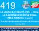 419 – Lds1 – LA LEGGE DI STABILITÀ 2014 – 2016 LA RAZIONALIZZAZIONE DELLA SPESA PUBBLICA (ART.10)