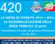 420 – LdS2 – LA LEGGE DI STABILITÀ 2014 – 2016 LA RAZIONALIZZAZIONE DELLA SPESA PUBBLICA (ARTT.11 – 12)