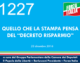 1227 – QUELLO CHE LA STAMPA PENSA DEL DECRETO RISPARMIO