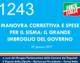 1243 – MANOVRA CORRETTIVA E SPESE PER IL SISMA. IL GRANDE IMBROGLIO DEL GOVERNO